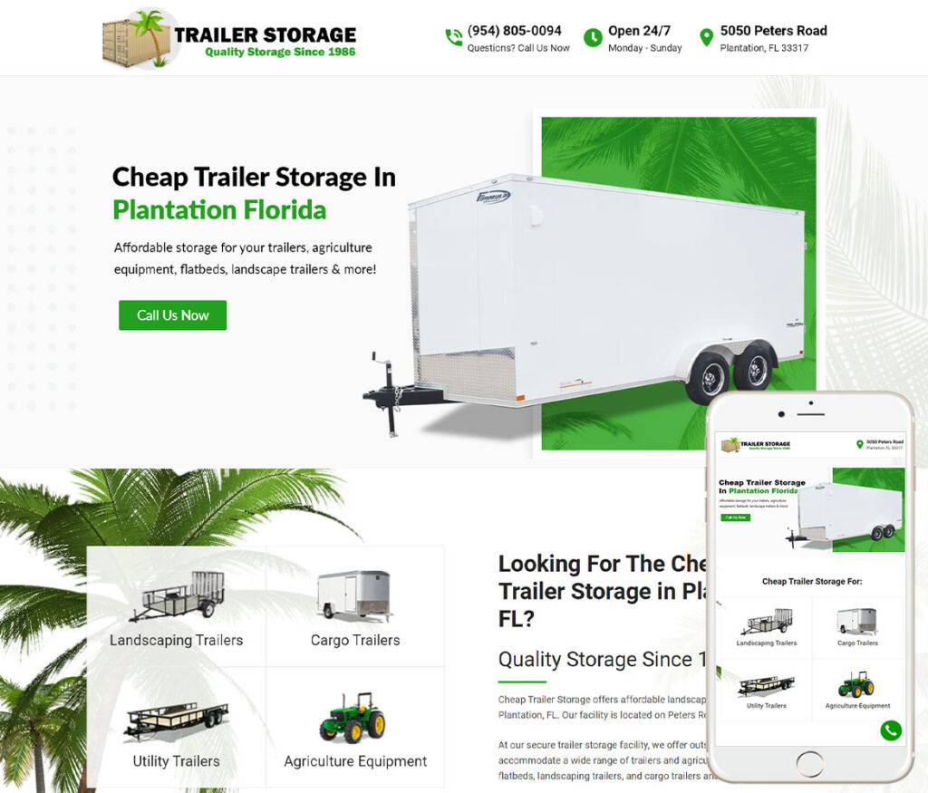 Storage Facility Website Design