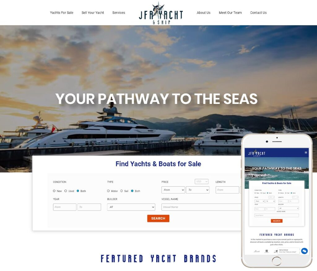 Yacht Broker Website Design