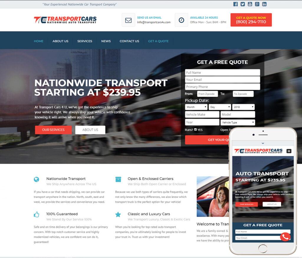 Car Transport Website Design