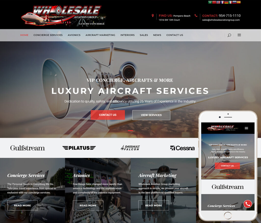 Aviation Concierge Website Design