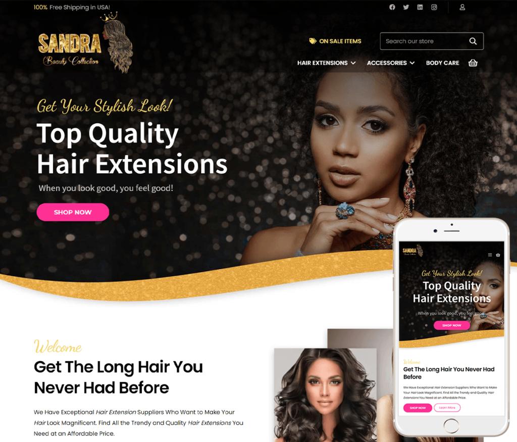 Hair Extensions Website Design
